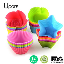 Upors 12pcs Silicone Mold Heart Cupcake Soap Silicone Cake Mold Muffin Baking Mold Tools Bakery Pastry Tools Bakeware Kitchen(China)