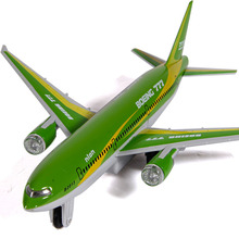 18CM Alloy Diecast Plane Model Boeing 777 Airbus Pull Back Light&Sound Aircraft Model Gift for Kids