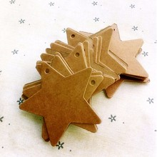 100pcs/lot Brown Star Kraft Paper Wedding Christmas Halloween Party Favor Price Gift Card Label Luggage Tags(China)