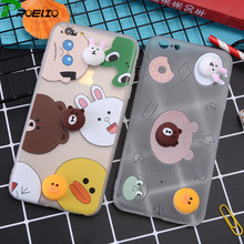 Phone Cases For iphone 7 7 plus 6 6S Plus Girls Soft silicone 3D Cute TPU cover Mickey&Minnie Brown bear funda capa with holder