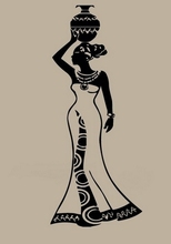 Sexy Girl Room Vinyl Wall Decal African Woman With A Pot Nice Dress Mural Art Wall Sticker Clothes Shop Bedroom Home Decoration(China)