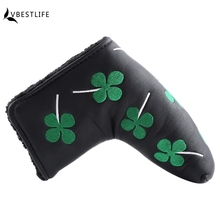 1PCS Thick PU Golf Headcover Putter Cover Blade Golf Head cover For Golf club Activity Green Four Leaf Clover Accessories(China)