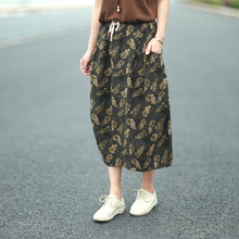 Skirt 2017 Summer New Style Long Skirt Casual Elastic Waist Linen  Bub Skirt Plus Size Skirt