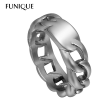 FUNIQUE 1PC Men's Rings 316L Stainless Steel Ring Chains Hollow Fashion silver color Fit Customize Lettering