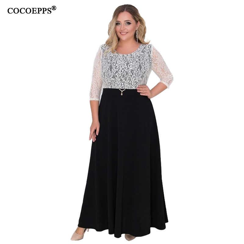 2019 Lace Patchwork 6xl Women Dress Big Size Elegant Maxi Dress Plus Size  Sexy Party Dress 1b717e6bd36a