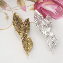 New Vintage  European Trendy Leaf Barrettes for Women Fashion Three Leaves Hairpins Spring Hair Accessories Headdress