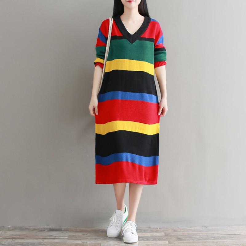 Female Knitted Sweater Dress 2017 New Fall and Winter Loose Vestidos Women V-Neck Striped Long Sweater DressesÎäåæäà è àêñåññóàðû<br><br>