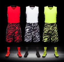 2017 Men's  Sleeveless basketball jersey blank jersey suit adult  breathable sweat absorbs quickly comfortable training pants