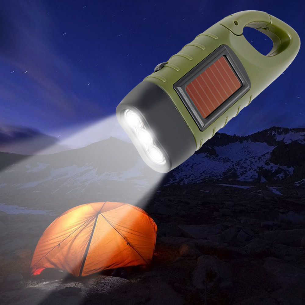 Professional Portable LED Hand Crank Dynamo Solar Power Flashlight Torch for Outdoor Camping Mountaineering Traditional Design (1)