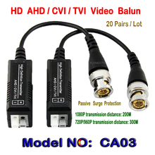 20Pairs HD CCTV Via Twisted Pairs Adapter HD CVI/TVI/AHD Passive Video Balun Male BNC to UTP Cat5/5e/6 HD Coax Analog Camera(China)