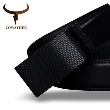 Cowather buena mens cinturón de vaca cinturones de cuero genuino para los hombres de lujo de alta calidad automática hebilla de la cintura de la moda masculina envío gratis