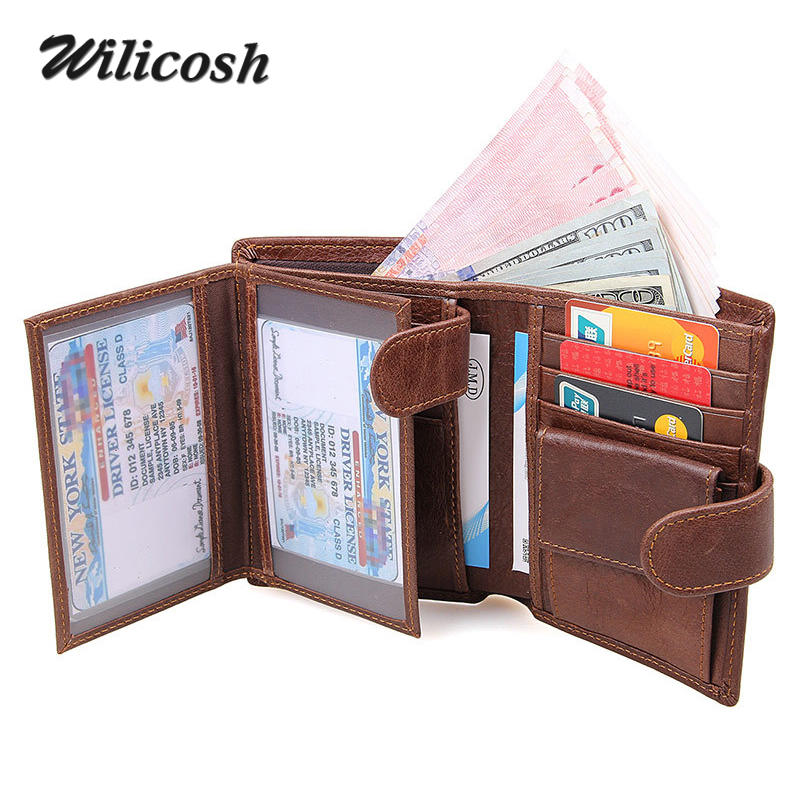 Wilicosh 2017 new genuine leather men wallet RFID blocking zippper purses with coin pocket 100% top cow leather wallet men WL492<br><br>Aliexpress