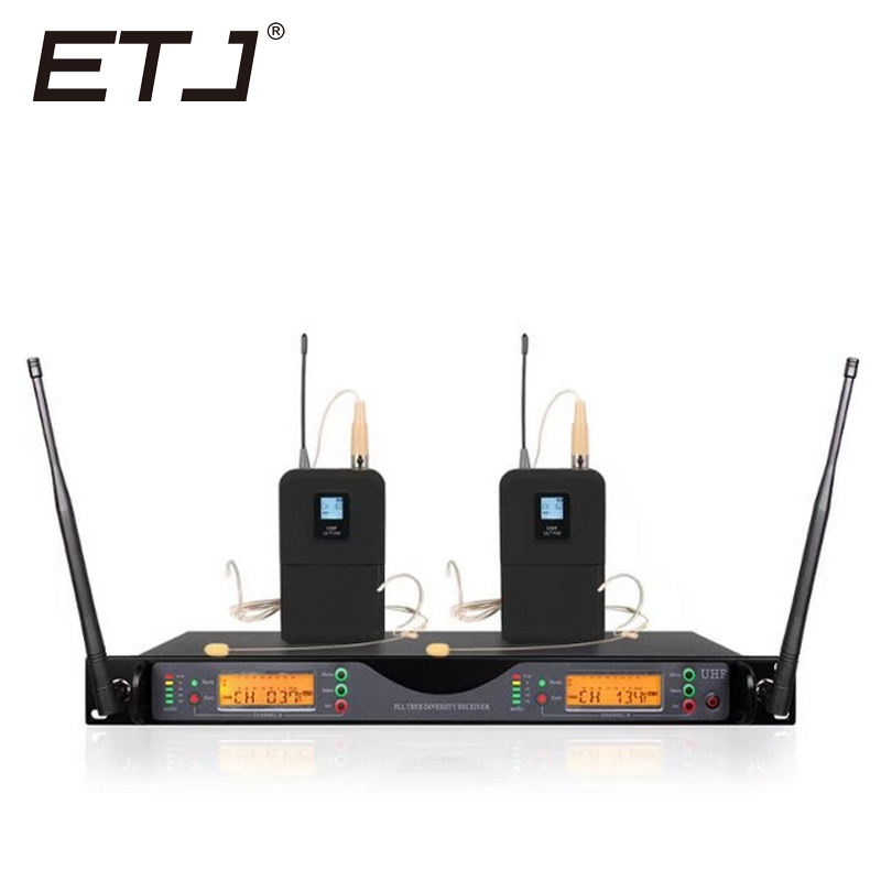 ETJ Brand UR24D True Diversity UR4D With Dual Headset Wireless Microphone For Stage Performance Bodypack Belt pack
