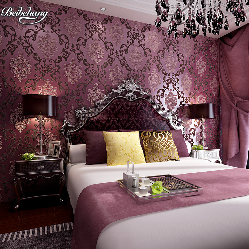 beibehang Customized European non - woven three - dimensional luxury purple damascus warm bedroom living room wallpaper<br>