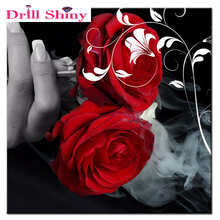 5D diy needlework diy diamond painting rose picture cross stitch rhinestone paste decorative Red rose diamond embroidery