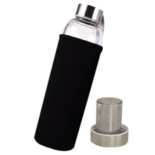 New 550ml Glass Sport Health Water Bottle with Tea Filter Infuser Protective Bag Black(China)