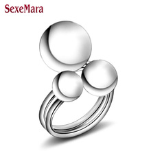 2017 new cheap wholesale 925 silver fingers ring with Three silver ball opening unisex fashion jewelry Top quality jz309