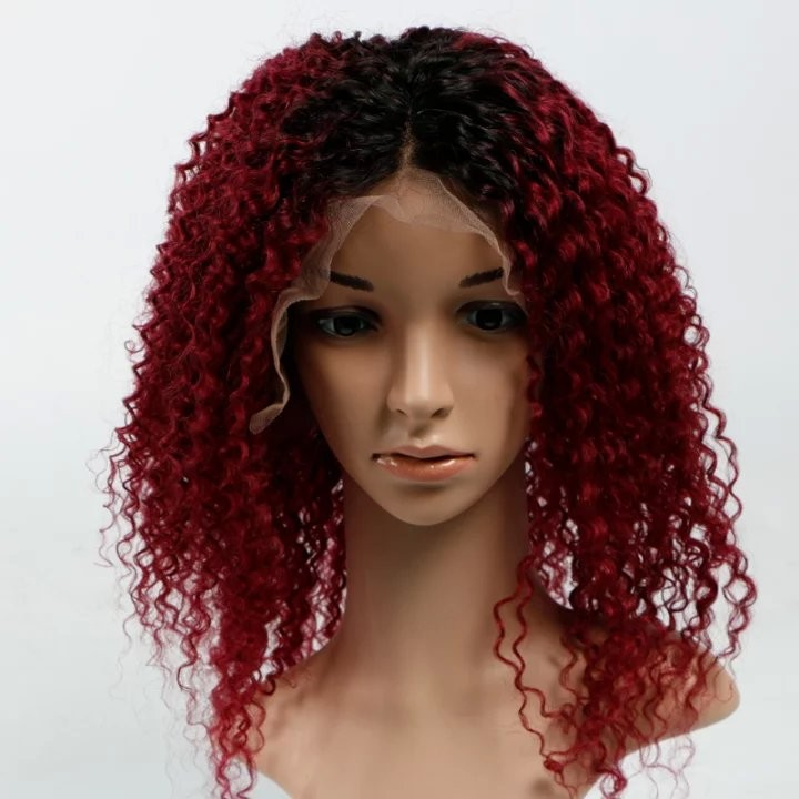 7A Brazilian Hair Kinky Curly #1B/Bug Front Lace Wig Curly Hair 100% Human Hair Glueless Full Lace Kinky Curly Wigs Wholesale<br><br>Aliexpress