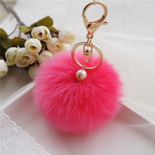 8cm Fluffy Keychain Fur Pom Pom Key Chain Faux Rabbit Hair Trinket For Bag Car Fur Ball Key Ring Golden Chaveiro llaveros(China)