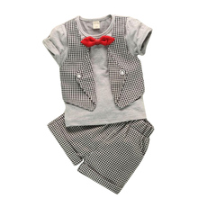 Fashion Fake Two Children Lattice Gentleman Serving Baby Boys Summer Short-Sleeved Suit Pants 2pc/ sets