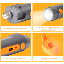 Portable Led Flashlight Car Charger 2,000mAh Power Bank Multi-functional Emergency Safety Hammer Flashlight Survival Whistle(China)