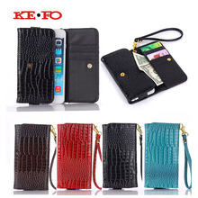 KEFO Handbag Wallet Bag Case For Vkworld VK6050S 5.5 Inch Universal Crocodile PU Leather Strip Wrist Phone Pouch Cases