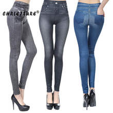 CHRLEISURE S-2XL Woman Jeans Leggings Fashion Blue Black Girls 2 Real Pockets Slim Europe Fold Stretch Leggings Pants Women