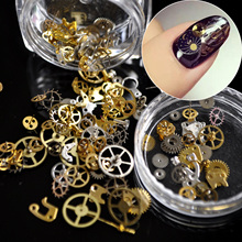 1 Box Ultra-thin Steam Punk Parts Style Nail Studs Gold 3D Nail Art Decorations Time Wheel Metal Manicure DIY Nail Tips Art N02(China)