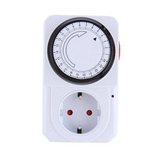 New 24 Hour Mechanical Electrical Plug Program Timer Power Switch Socket Energy Saver European Plug White Color(China)