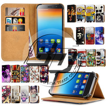 "For Lenovo S860 Case 5.3"" Universal Print Card Holder Stand Wallet Leather Cell Phone Cover Bag Protection For Lenovo S860 +Gift"