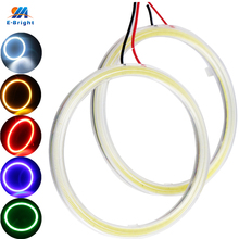 YM E-Bright COB Angel Eyes 2PCS(1pair) Auto Halo Ring 60MM 70MM 80MM 90MM 100MM 110MM 120MM Car Motorcycle With Lampshades 12V(China)