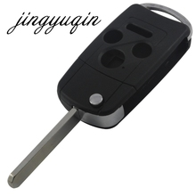 jingyuqin 4 Button Remote Flip Key Shell fit for Refit Honda Accord Civic Pilot Remote Key Case Fob Entry 3 Button +Panic