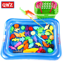 QWZ 50pcs/Set Fish Pond Game Magnetic Fishing Pole Rod 3D Fish Model Baby Bath Toys Outdoor Fun Kids Toy + Pool + Small Inflator(China)