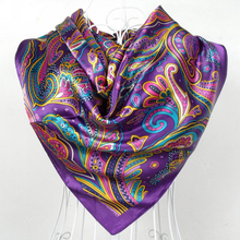 2017 Spring And Autumn Female Satin Scarf,Big Square Scarves Printed,Women Scarf,Purple Polyester Silk Scarf Shawl 90*90cm(China)