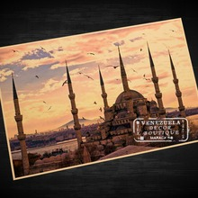 Blue Mosque Istanbul Turkey Landscape Art Vintage Retro Decorative Frame Poster DIY Wall Home Posters Home Decor Gift