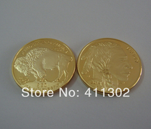 5pcs/lot 2014 1oz Gold clad  .999 $50 USA Buffalo Souvenir coins ,Gold Bullion Coins