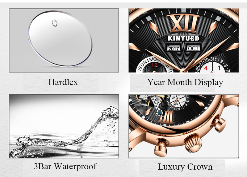 KINYUED Flying Tourbillon Watch Skeleton Men Leather Waterpoof Business Calendar Mens Mechanical Watches Automatic montre homme 5