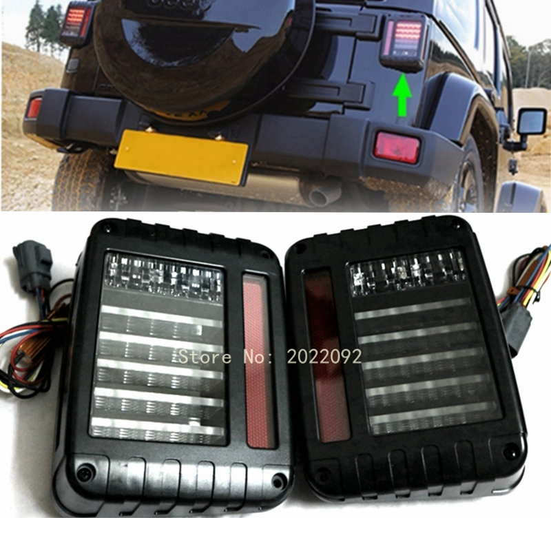 Black LED Rear Tail Light Brake Turn Signal Reverse Pair for 07-16 Jeep Wrangler JK<br>