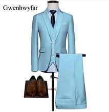 Gwenhwyfar 2018 Sky Blue Suit Men Tailored Wedding/Dinner Party Wear Tuxedos Suits For Men Terno Masculino (Jacket+Pants+Vest)(China)