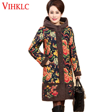 Middle Aged Women Vintage Floral Print Jacket Coat 2017 Winter Thick Warm Padded Cotton Parkas Plus Size 5XL Overcoat H455(China)