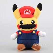 "Super Mario Pikachu Plush Toy Cute Pikachu Cosplay Mario Stuffed Soft Dolls 9"" 22 CM Kids Birthday Gift"