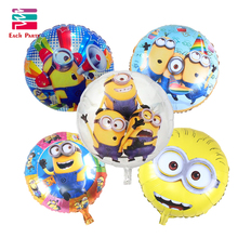 5pcs/lot cartoon Minions round foil balloons children classic toys Inflatable helium balloon happy birthday balls party supplies