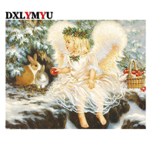 Diamond painting needlework Garlanded angels picture 3d cross stitch Kit square full diy diamond embroidery mosaic making