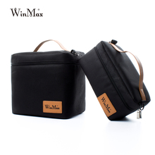 Winmax Factory Outlet Black Insulated Daily Lunch Bag Box Sets Portable Food Safe Big Container Thermal Picnic Cooler Bags