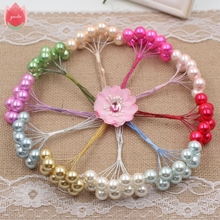 50pcs Foam Big Pearl Stamen Artificial Flowers For Wedding Party Plants Decoration Marriage Wreath Crown Scrapbook Fake Flowers