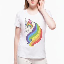 2017 Rainbow Cat Geometry Zombie Unicorn Design Summer Harajuku T shirt Women Crew Neck Funny Print Lady Tees Plus Size L6A27(China)