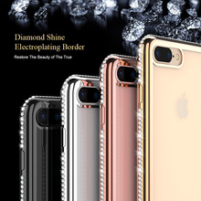 flying fish For iPhone 7 Luxury Glitter Diamond Plating Rhinestones Soft Silicone Case For iPhone7 Plus 6 6s Plus Back Coque