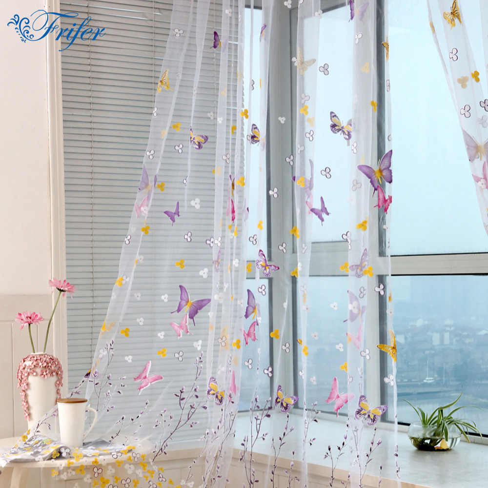 Tulle Curtain Ultra Light Embroidered Butterfly Window Curtains for Living Room Bedroom Elegant Window Drapes Curtains 100*200cm