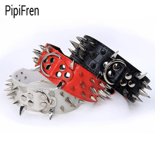 PipiFren Genuine leather Spiked Big Dogs Collars Accessories Supplies For Large Dog Necklace Pets Collar Rivet collare cane(China)