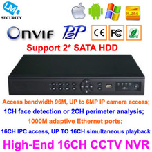 High-End 16CH CCTV IP NVR 1080P Support ONVIF P2P Kinds of Mobile Viewing Free Client Software 16 Channels Security Network DVR